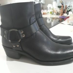 Black Harness Frye Ankle Boot